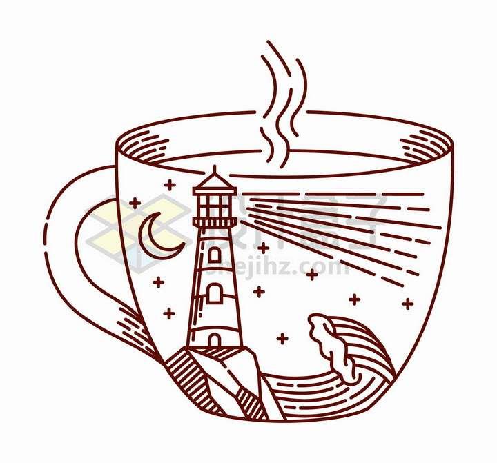 抽象线条茶杯上的大海灯塔手绘插画png图片免抠矢量素材