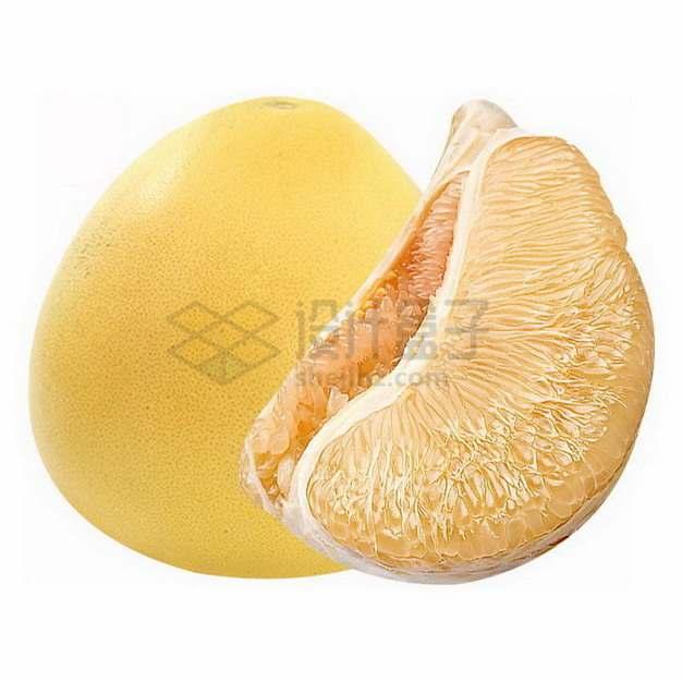 剥开的黄心柚子沙田柚png图片素材