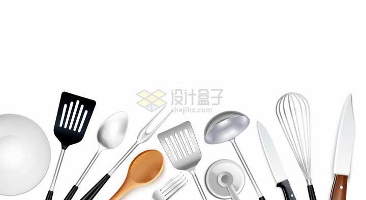 盘子锅铲勺子叉子打蛋器菜刀等厨房用品装饰png图片素材