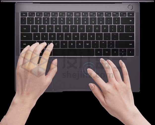 双手操作华为笔记本电脑matebook x pro示意图8763210png图片素材