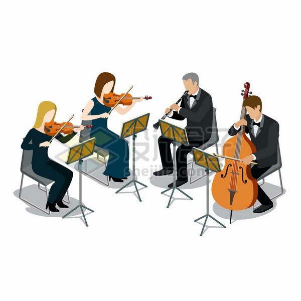 扁平插画风格正在演奏乐器的交响乐团png图片免抠矢量素材