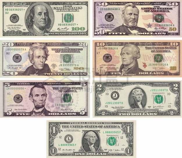 1到100美元钞票纸币标准图案png图片素材