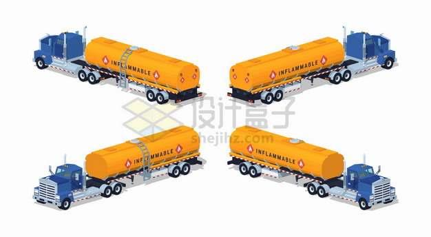 黄色油罐车特种卡车四视图png图片素材