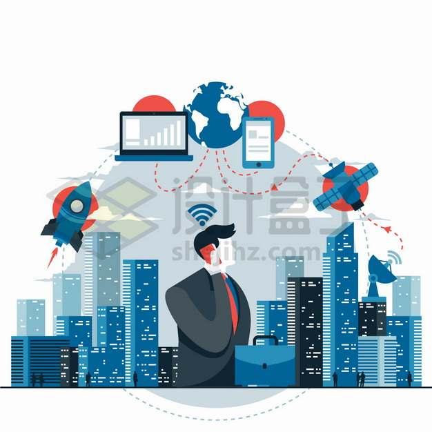 世界电信日移动信号覆盖城市png图片素材