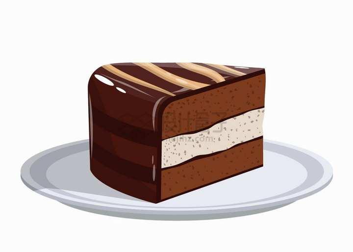 盘子中的巧克力慕斯美味西餐蛋糕美食png图片素材