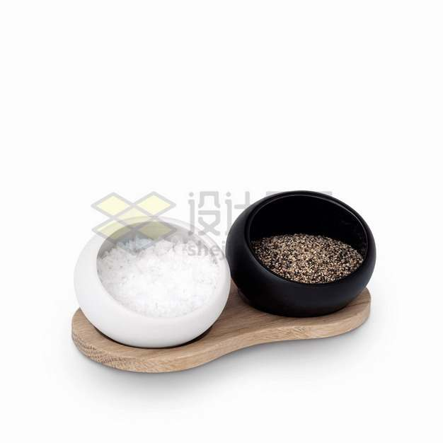 黑白容器中的食用盐和调味料png图片素材