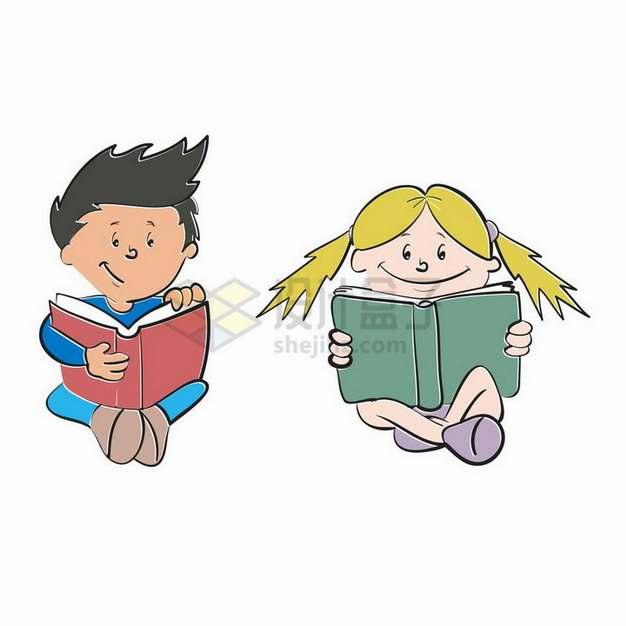 手绘卡通男孩女孩坐在地上看书读书png图片免抠矢量素材