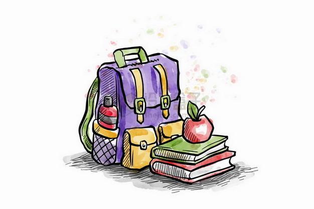 彩绘风格书包书本和苹果png图片免抠矢量素材 教育文化-第1张