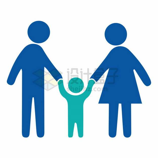 爸爸妈妈牵着孩子的手人物符号国际家庭日png图片素材