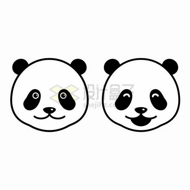 简约的两款黑白色大熊猫的头png图片免抠矢量素材 生物自然-第1张