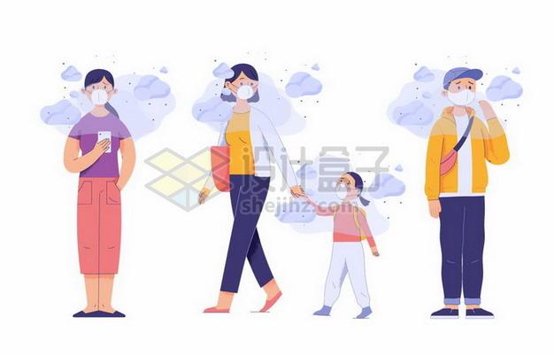 空气污染雾霾天气下人人都戴口罩png图片素材 健康医疗-第1张