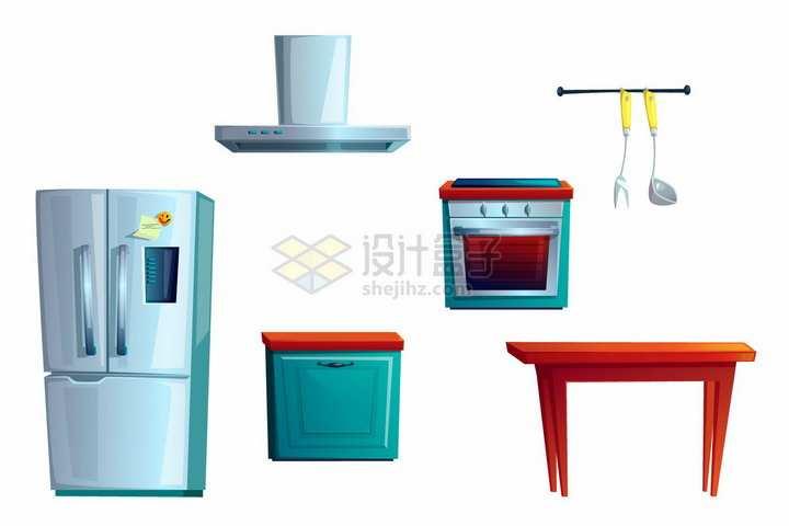 卡通电冰箱抽油烟机电烤箱餐桌等厨房用品png图片素材