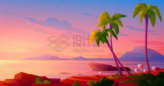 晚霞的海湾大海和椰子树卡通风景png图片素材