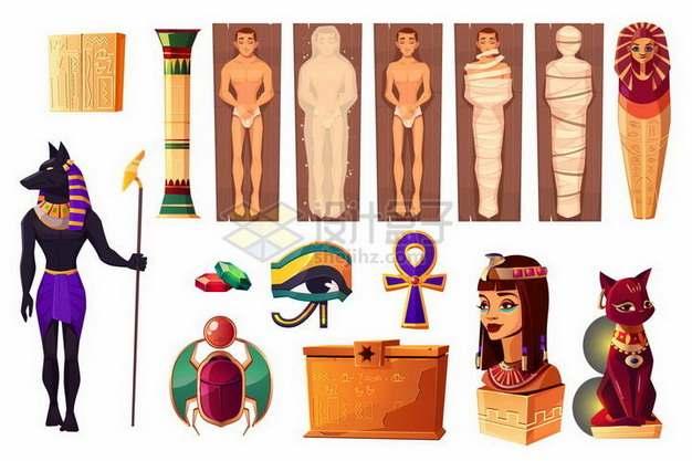 各种埃及木乃伊和狗头神阿努比斯等png图片免抠矢量素材