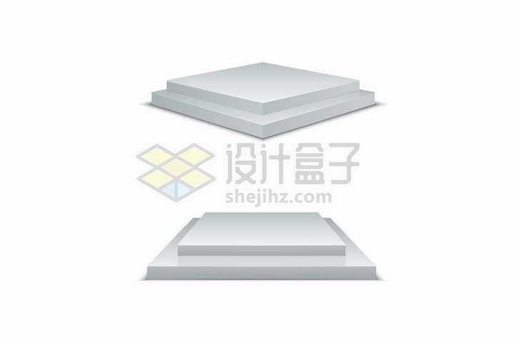 2款逼真的银灰色方形展台舞台png图片免抠矢量素材