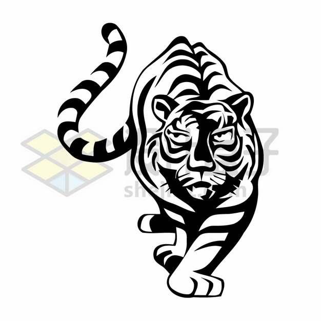黑色线条老虎插画png图片素材