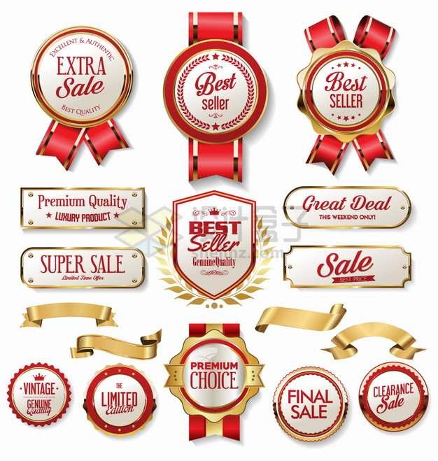 各种红色金色边框的白色勋章徽章奖章2576127png图片素材