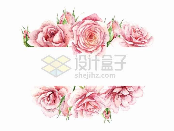 玫瑰花水彩画文本框装饰png图片免抠矢量素材