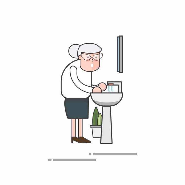 MBE风格卡通正在洗手的老奶奶png图片免抠矢量素材