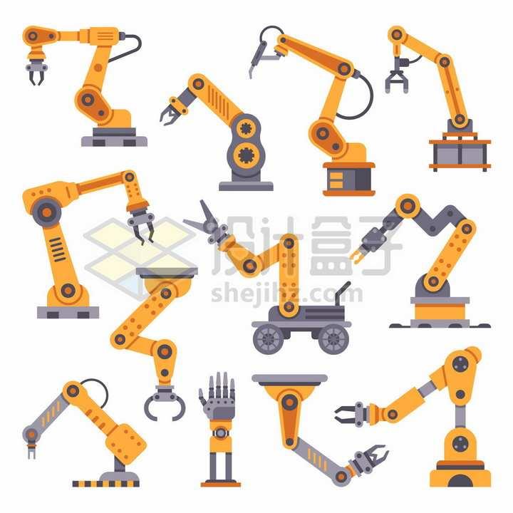 12款黄色的机械手臂工厂流水线png图片素材