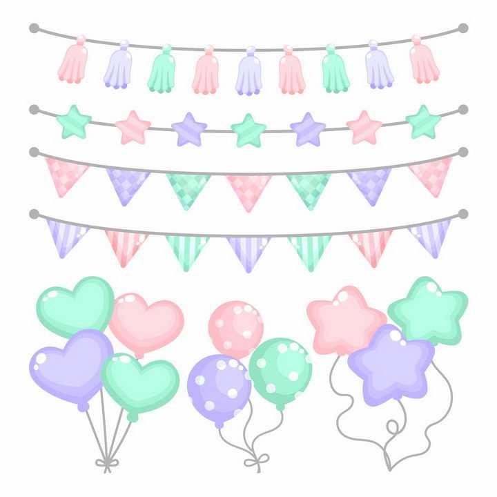 糖果色风格儿童生日宴会上的彩旗和气球png图片免抠矢量素材