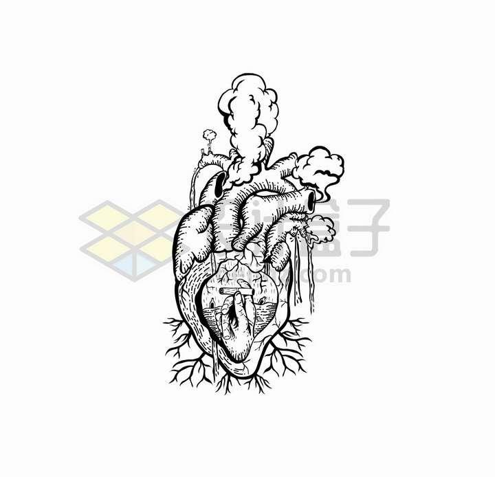 抽象线条冒烟的心脏手绘插画png图片免抠矢量素材