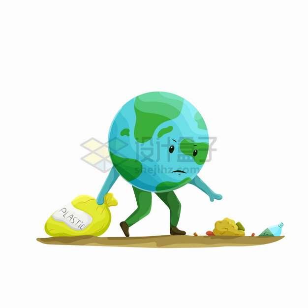 卡通地球拖着垃圾袋捡垃圾保护地球环境png图片素材