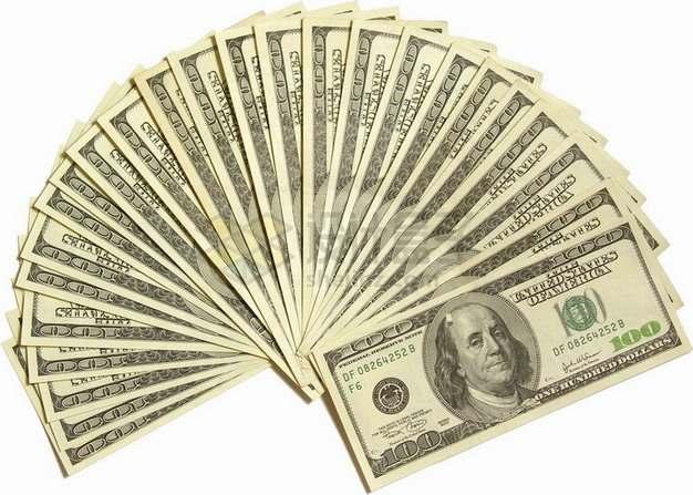 扇形展开的100美元钞票纸币png图片素材