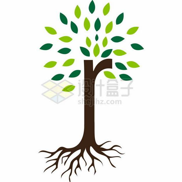 简约带树根的大树和树叶png免抠图片素材