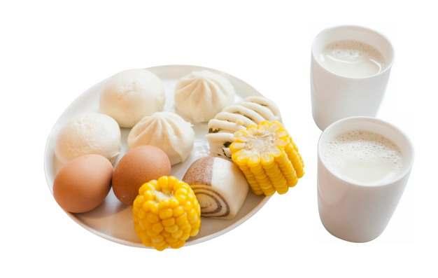 煮鸡蛋包子花卷玉米豆浆学生营养早餐png图片素材