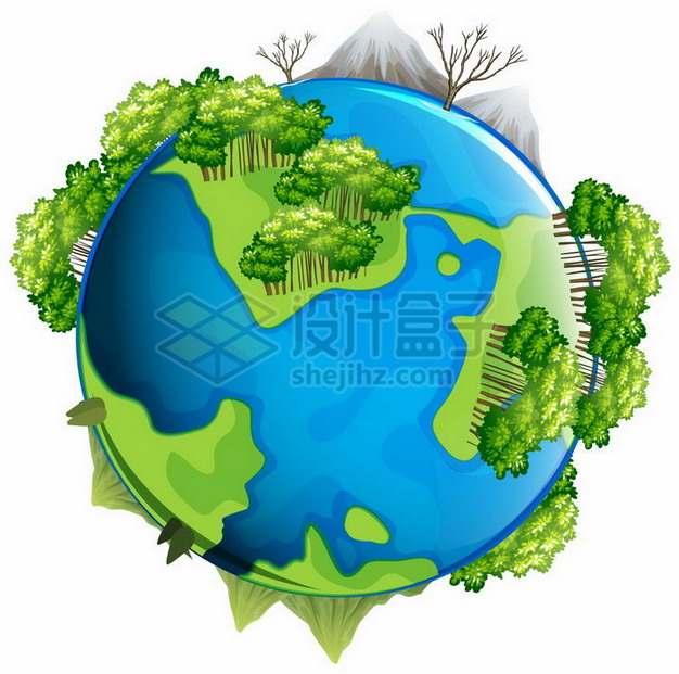 蓝色的地球模型和上面郁郁葱葱的森林png图片免抠矢量素材