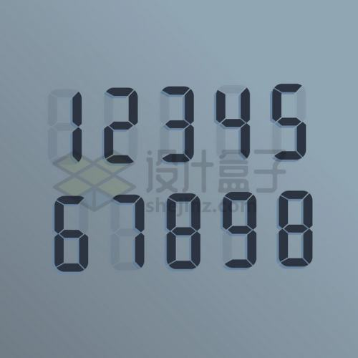 逼真的经典液晶显示数字png图片免抠矢量素材
