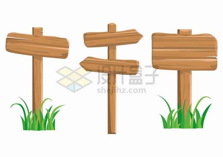 3款卡通木牌指示牌木头牌子png图片免抠矢量素材