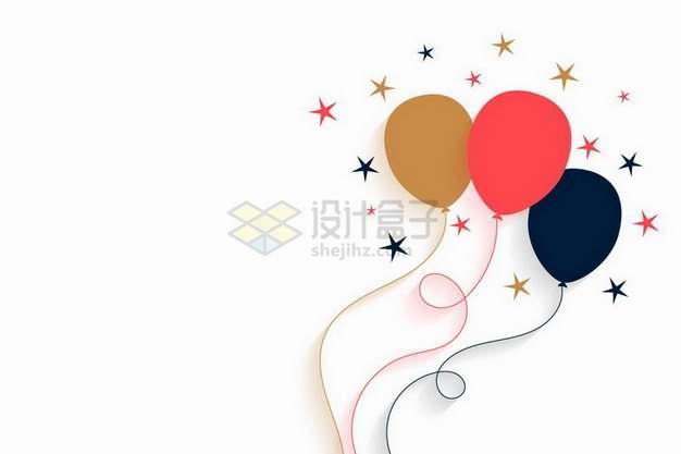 金色红色黑色气球和五角星装饰扁平插画png图片素材