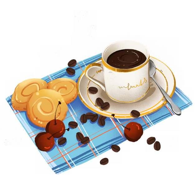 餐布上的曲奇饼干樱桃和咖啡png图片素材