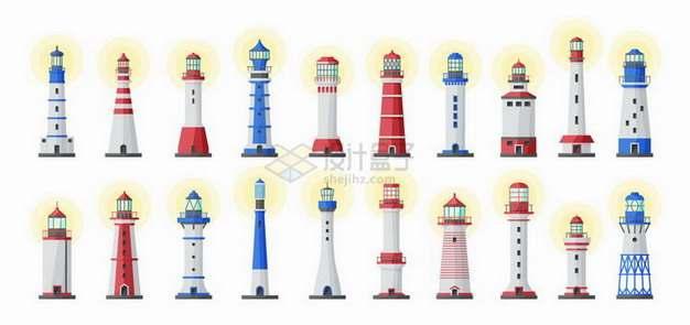 20款发出黄光的灯塔png图片素材