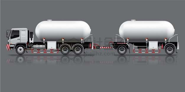 两节串联的油罐车食用油鲜奶运输车特种卡车png图片素材