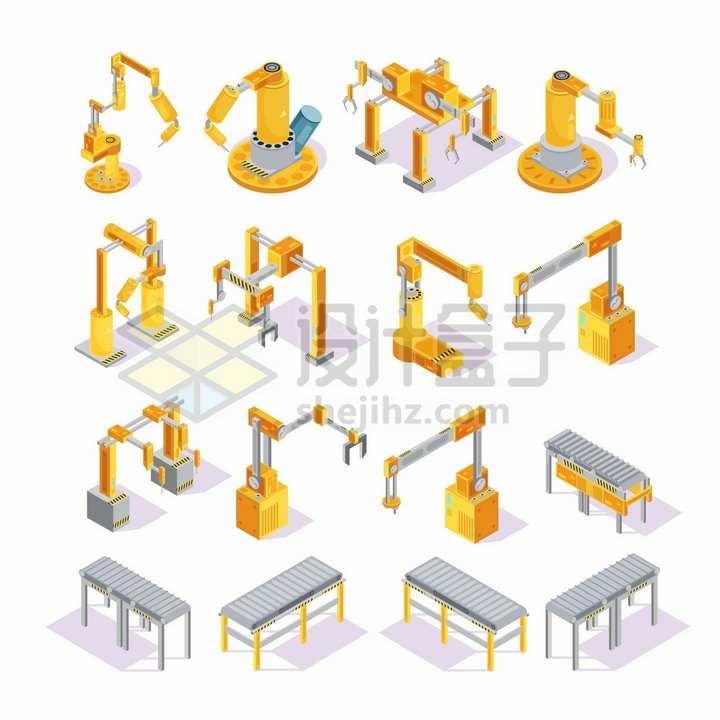 16款2.5D黄色机械手臂和工厂滚筒流水线png图片素材
