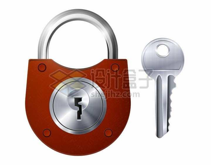 红色的挂锁和银色的钥匙png图片素材