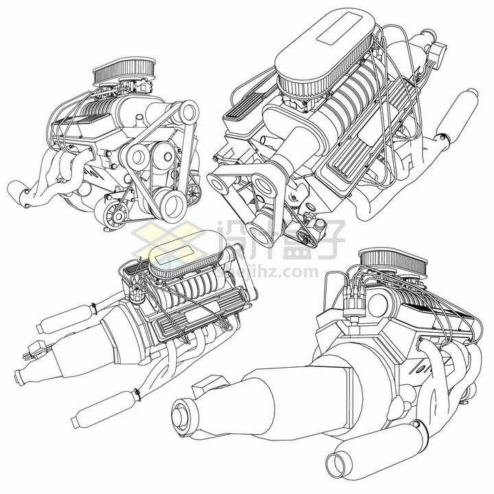 4款汽车发动机引擎手绘线条设计草图png图片素材