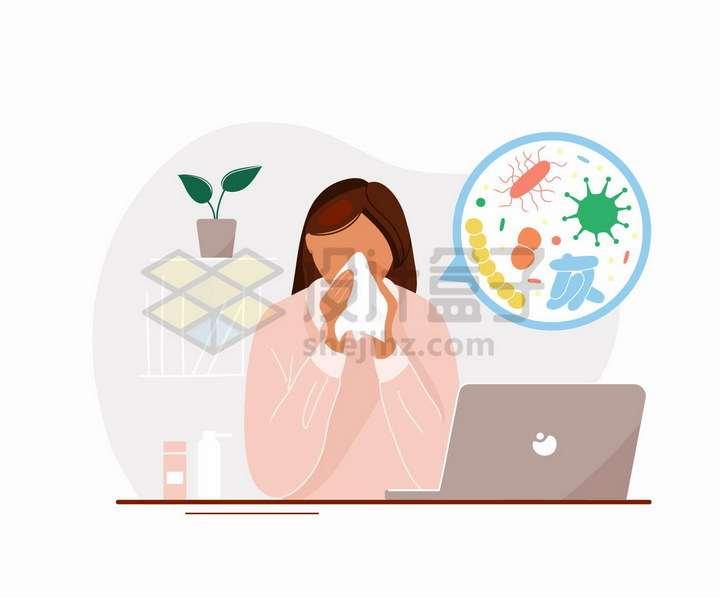 感冒擦鼻涕的女孩手绘扁平插画png图片免抠矢量素材