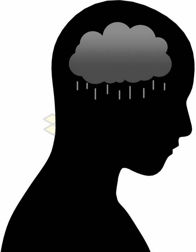 人体头部剪影和下雨的乌云象征了心情不好png图片素材