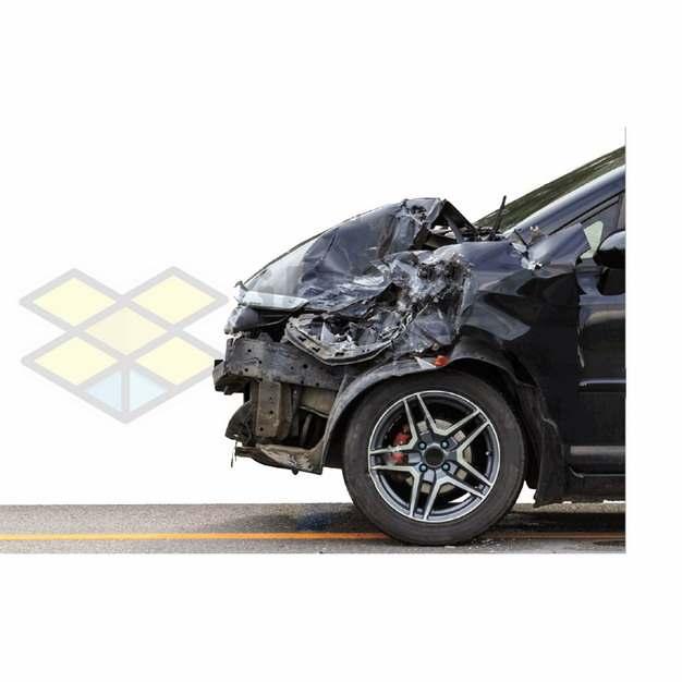 车祸现场汽车车头被撞坏了png图片素材