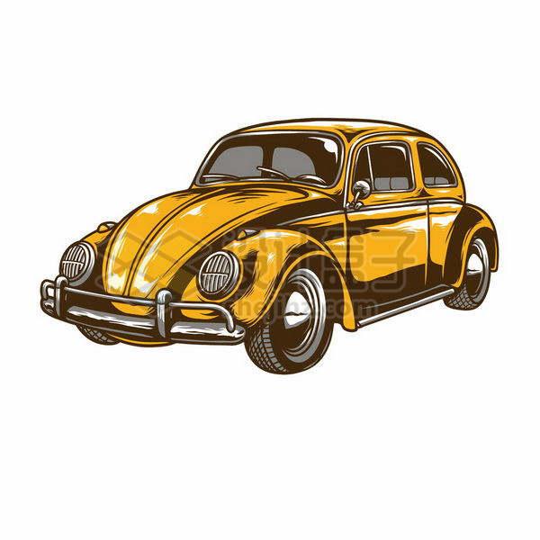 彩绘风格橙色涂装的甲壳虫汽车png图片免抠矢量素材