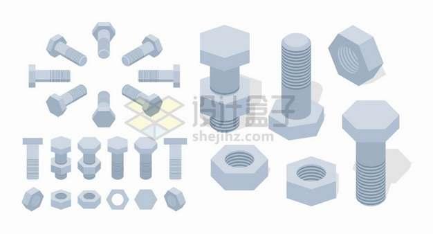 各种灰色的螺母螺丝和螺栓png图片素材