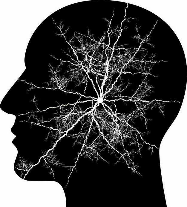 人体头部剪影和抽象白色闪电图案png图片素材