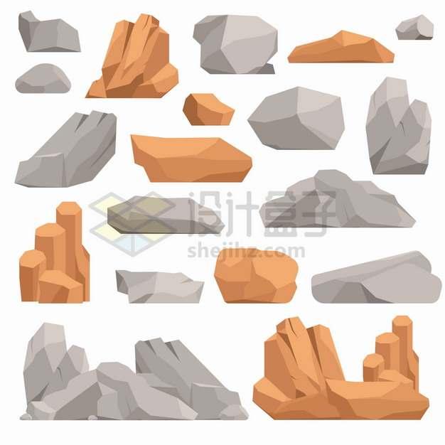 黄色和灰色的石头岩石石灰石花岗岩石块png图片素材
