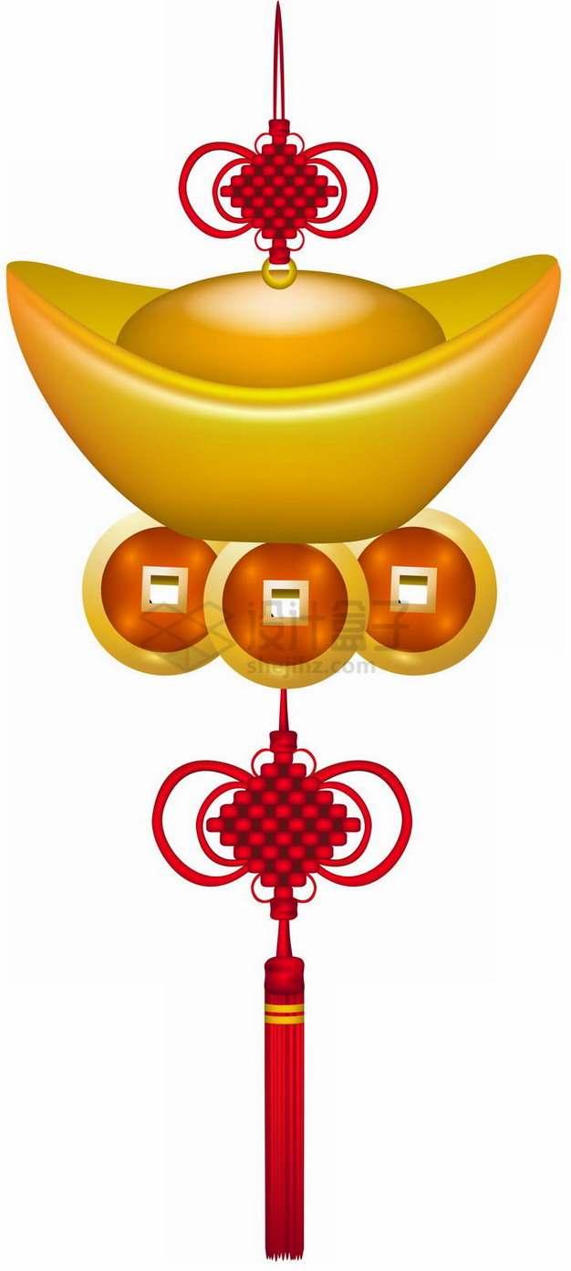 金元宝铜钱中国结挂饰png图片素材