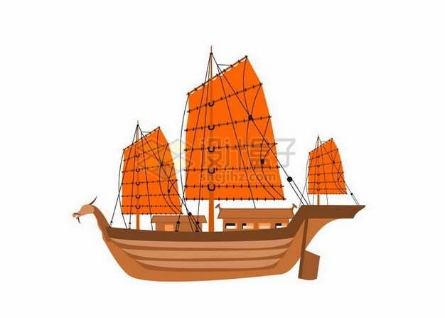 一艘中国传统的帆船png图片免抠矢量素材