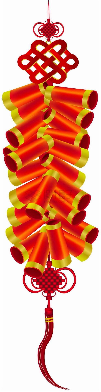 一串红色的鞭炮带中国结png图片素材